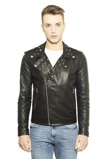 Brando Style Men Black Classical Leather Jacket Silver Studded Hand Crafted
