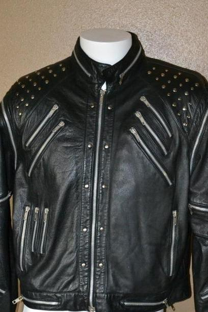 Men Black Classical Genuine Leather Jacket Silver Studded Hand Crafted