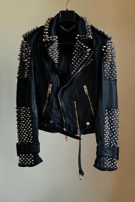 Black Punk Style Classical Leather Jacket Large Spike Golden Studded For Men