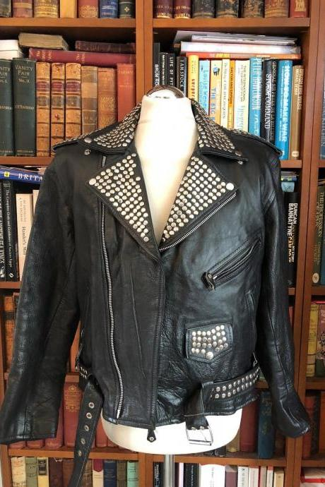 Men Black Color Men Biker Classical Real Leather Jacket Silver Stud Belted Waist