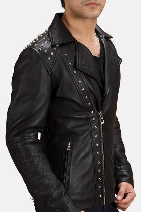 Men Black Color Men Biker Classical Real Leather Jacket Silver Stud Front Zipper