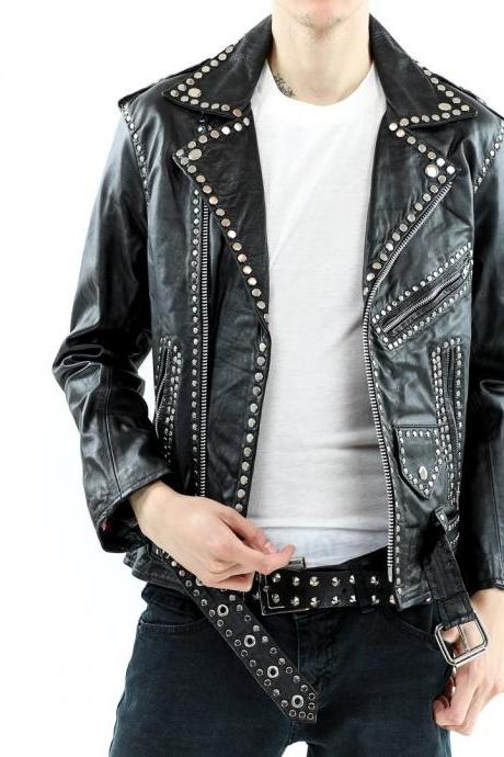 Hand Made Men Black Men Biker Classical Leather Jacket Silver Stud Front Zipper