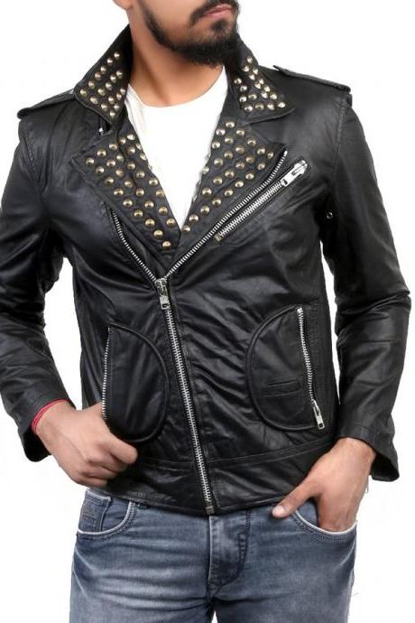 Hand Made Men Black Men Biker Classical Leather Jacket Golden Stud Front Zipper