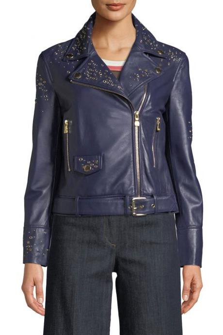 Purple Color Biker Genuine Leather Jacket Golden Studded Brando Style For Women