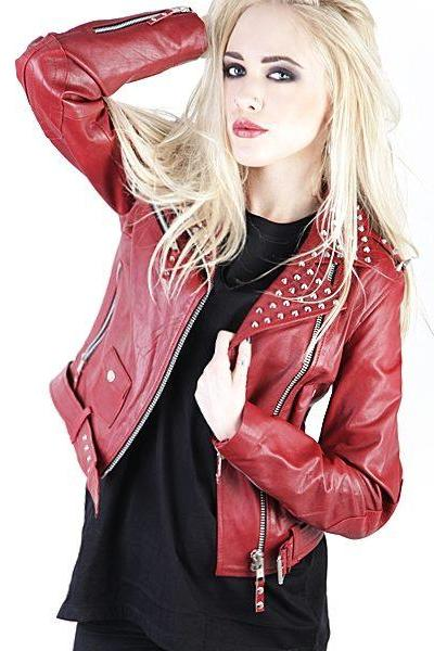 Maroon Color Women Genuine Motor Biker Leather Jacket Silver Studs Front Zipper