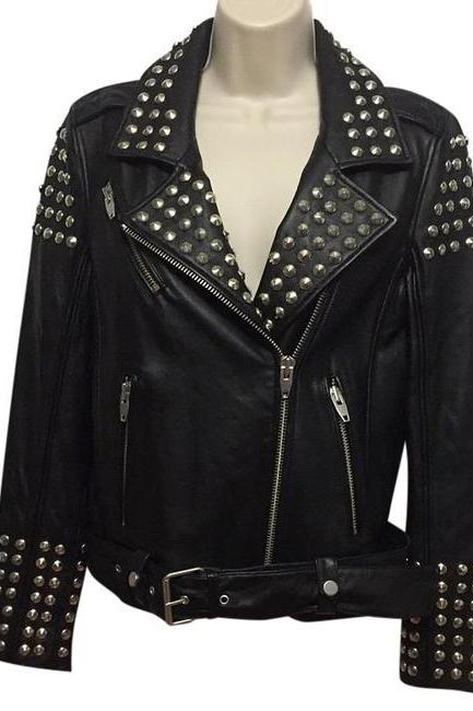 Customized Women Black Biker Genuine Leather Jacket Silver Studded Belted Waist