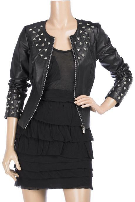 Women Short Body Black Biker Genuine Leather Jacket Silver Studded Front Zipper