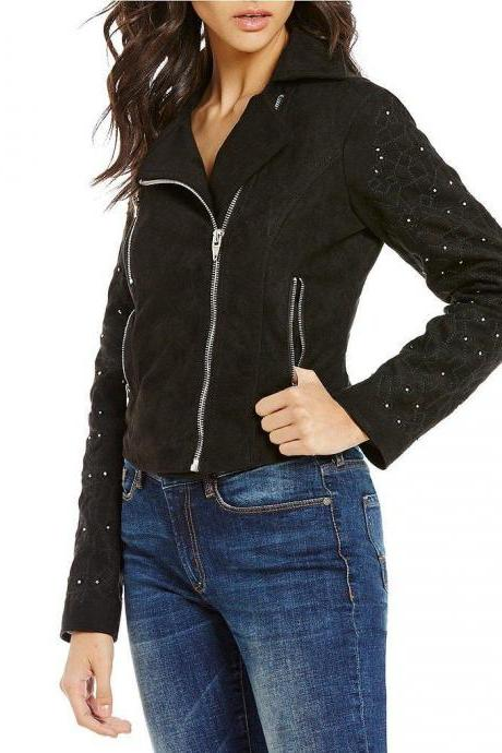 Hand Made Women Black Real Suede Leather Jacket Silver Small Studs Front Zipper