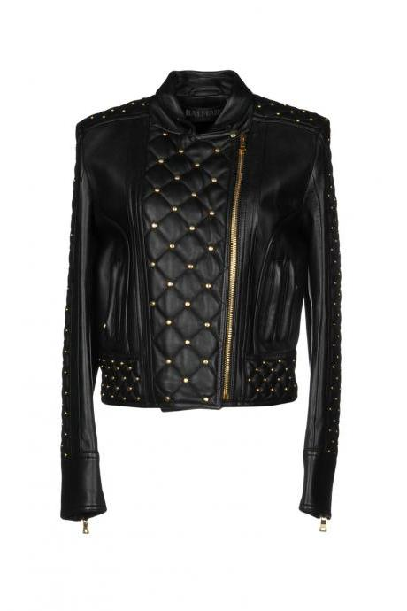 Customized Women Black Genuine Real Leather Jacket Golden Studs Zippered Sleeves