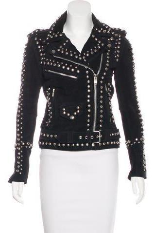 Hand Made Women Black Elegant Real Leather Jacket Silver Studs Zippered Sleeves