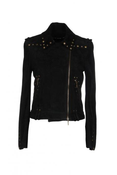 Made To Order Women Black Biker Real Leather Jacket Golden Studded Front Zipper
