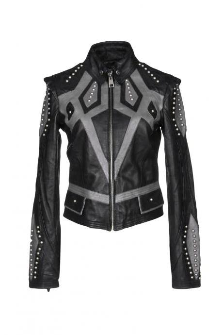 Burnished Black Gray Motor Biker Leather Jacket Silver Studded Front Zipper
