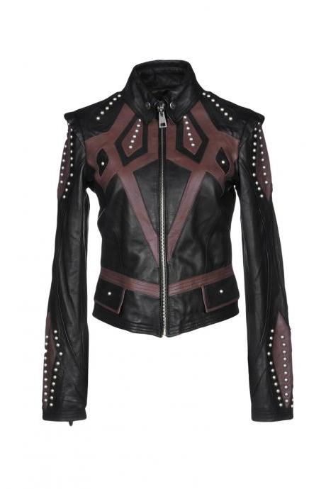 Two Tone Black Brown Motor Biker Leather Jacket Silver Studded For Women