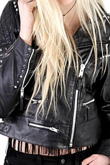 Women Short Body Black Genuine Real Leather Jacket Silver Studded Brando Style