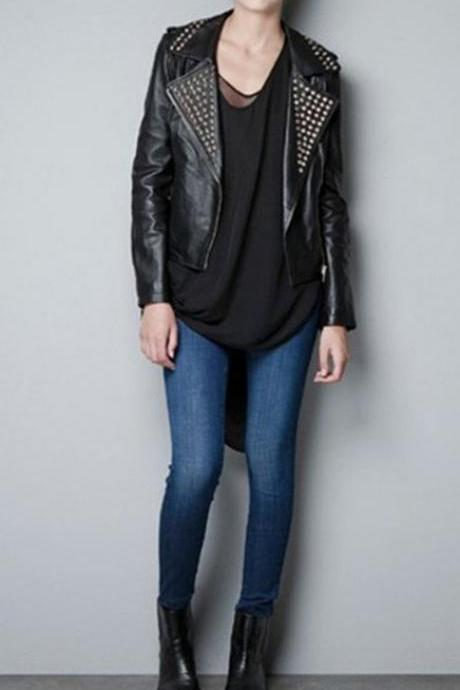 Women Black Genuine Elegant Leather Jacket Golden Studded Zippered Sleeves