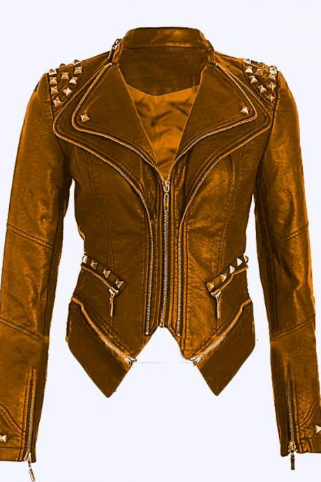 Hand Made Women Yellow Genuine Stylish Leather Jacket Silver Studs Front Zipper