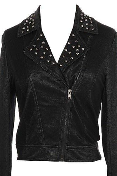 Made To Order Women Black Motor Cycle Real Genuine Leather Jacket Silver Studs