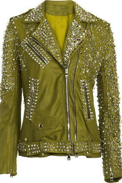 Customized Women Green Genuine Elegant Leather Jacket Heavy Silver Studded