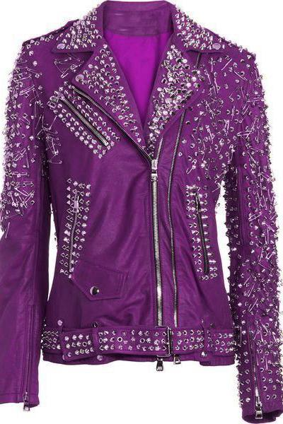 Customized Women Pink Genuine Elegant Leather Jacket Heavy Silver Studded