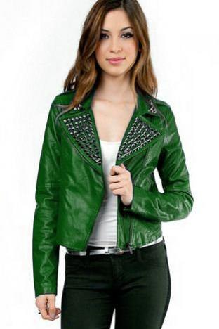 Hand Crafted Women Green Stylish Genuine Leather Jacket Black Studded Slim Fit