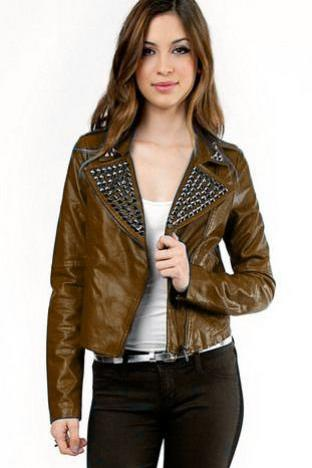 Hand Crafted Women Brown Stylish Genuine Leather Jacket Black Studded Slim Fit