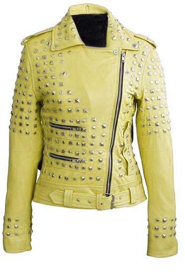 Yellow Color Genuine Motor Biker Genuine Leather Jacket With Silver Studs