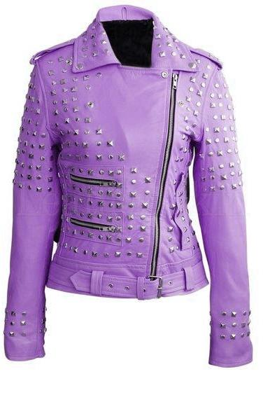 Purple Color Genuine Motor Biker Genuine Leather Jacket With Silver Studs