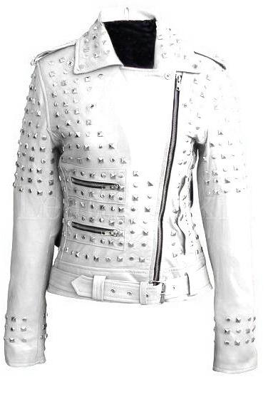 White Color Genuine Motor Biker Leather Jacket With Silver Studs Front Zipper