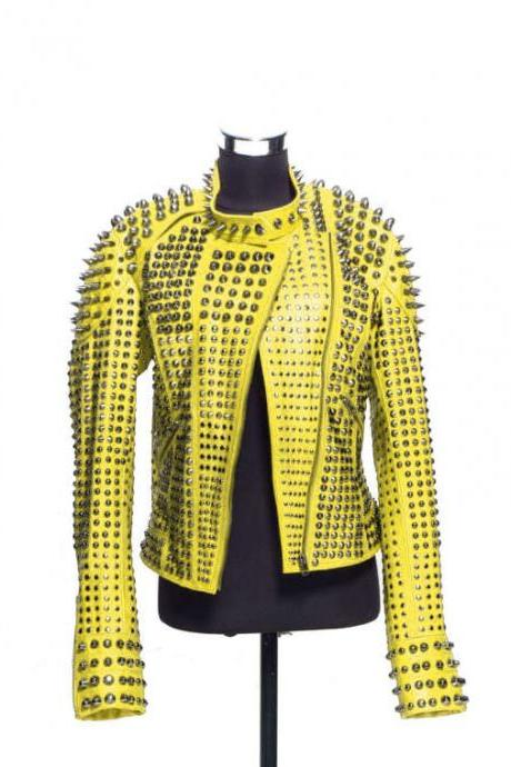Women Yellow Color Classical Real Leather Jacket Full Spiked Silver Studded