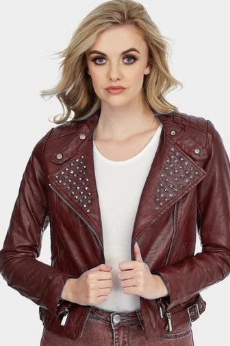Women Maroon Color Short Body Genuine Leather Jacket Black Studded Slim Fit