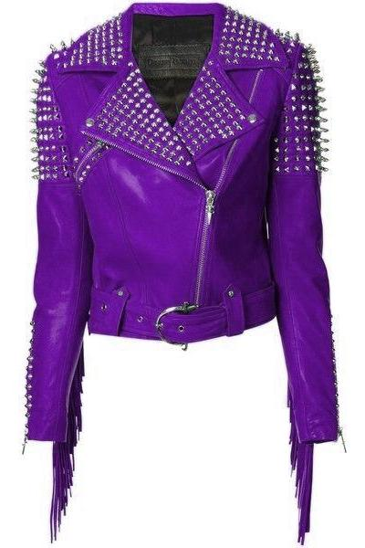 Women Purple Classical Genuine Leather Jacket Spiked Silver Studded & Fringes