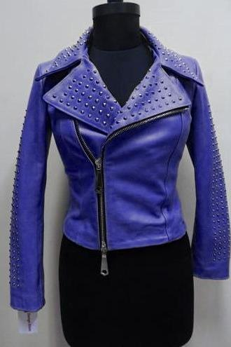 Blue Color Women Genuine Classical Leather Jacket With Blue Studs Front Zipper