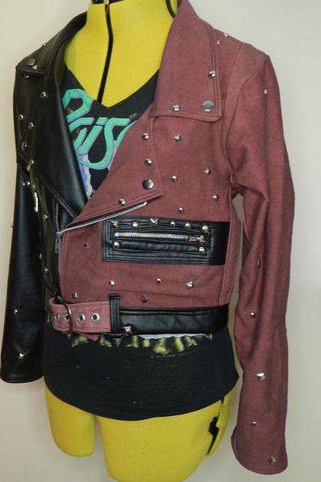 Two Tone Black Brown Women Genuine Leather Jacket Silver Studded Brando Style