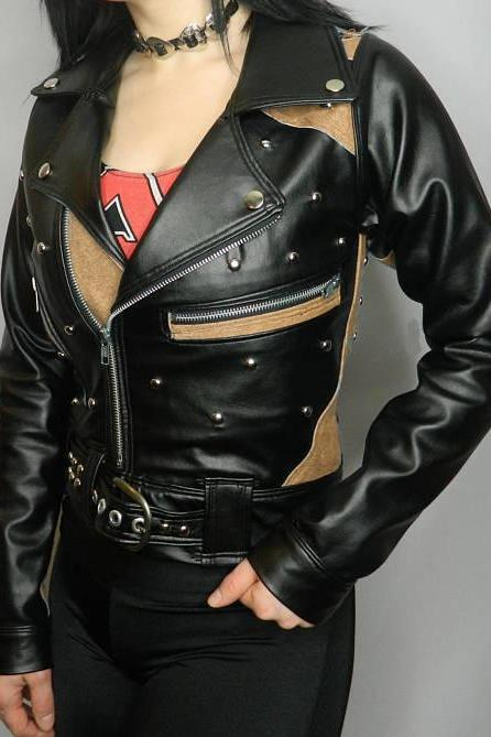Two Tone Black & Beige Women Genuine Leather Jacket Silver Studded Brando Style