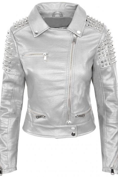 Women Silver Color Biker Leather Jacket With Silver Studs Front Zipper & Sleeves