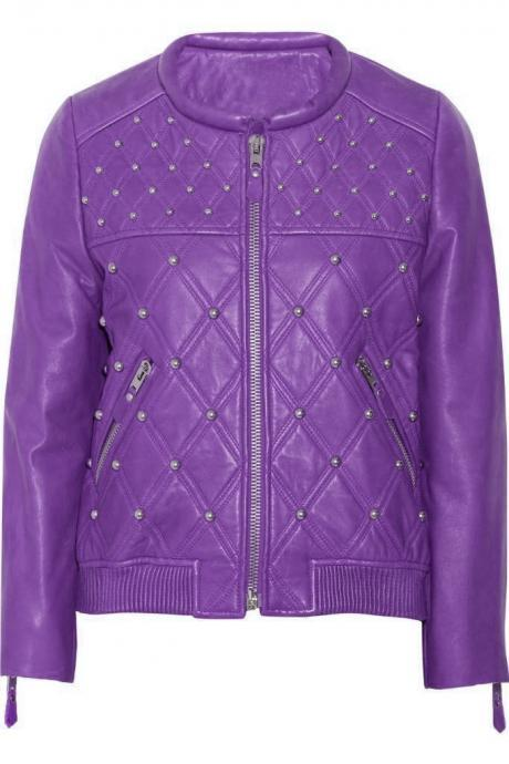 Customized Women Purple Genuine Leather Jacket Full Silver Studded Front Zipper