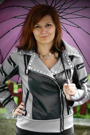 Two Tone Black Gray Women Genuine Leather Jacket Silver Studded Brando Style