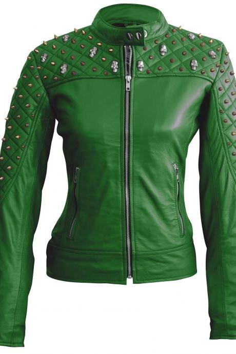 Green Color Genuine Biker Leather Jacket Silver & Golden Studded For Women