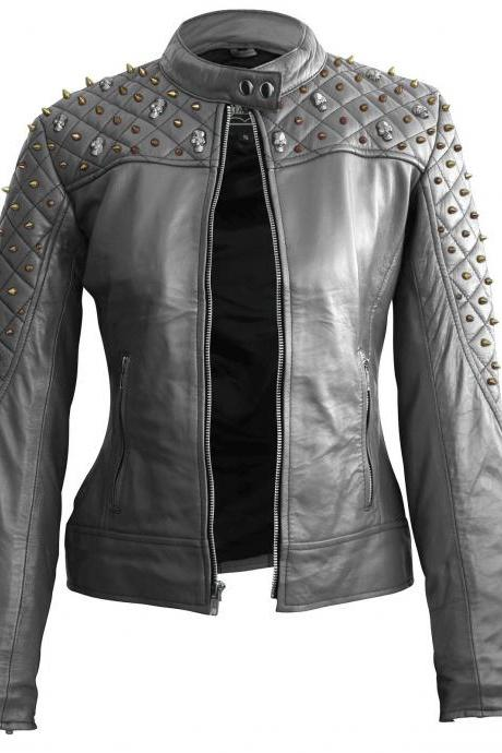 Silver Color Genuine Biker Leather Jacket Silver & Golden Studded For Women