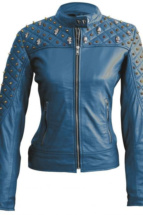 Blue Color Genuine Biker Leather Jacket Silver & Golden Studded For Women