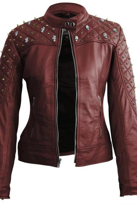 Maroon Color Genuine Biker Leather Jacket Silver & Golden Studded For Women