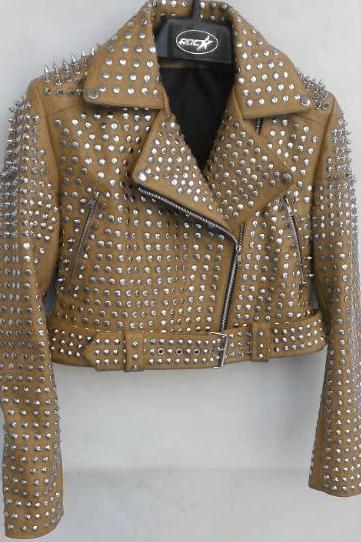 Yellow Color Women Genuine Biker Leather Jacket Full Silver Studded Belted Waist