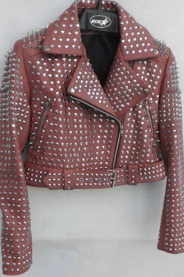 Peach Color Women Genuine Biker Leather Jacket Full Silver Studded Belted Waist