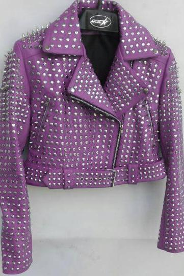 Purple Color Women Genuine Biker Leather Jacket Full Silver Studded Belted Waist