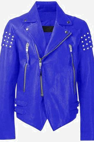 Hand Made Men Blue Motorcycle Genuine Leather Jacket Silver Studded Brando Style For Men