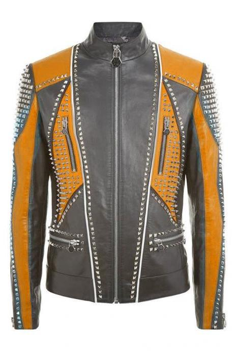 Two Tone Gray & Orange Motor Biker Genuine Leather Jacket Silver Studded For Men