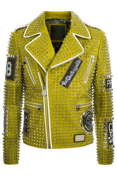 Green Color Genuine Real Leather Jacket Full Silver Studded Front Zipper & Zippered Sleeves