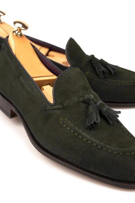 Green Tassel Loafer Slip Ons Apron Toe Genuine Suede Leather Men Slippers