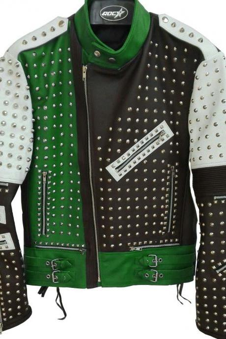 Men Multi Color Genuine Classical Leather Jacket Full Silver Studded Front Zipper