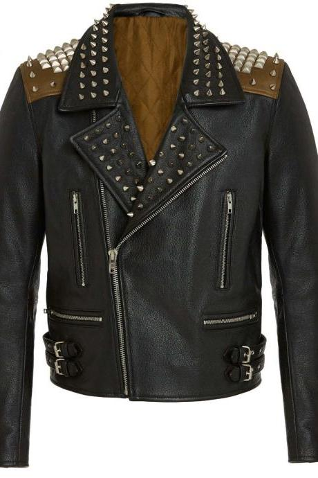 Men Black Genuine Real Leather Jacket Silver Studded Brando Style